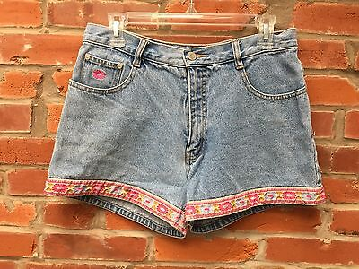 Vintage 90s Jean Shorts Womens Light Wash Denim Pink Daisy Trim High Waist (844)