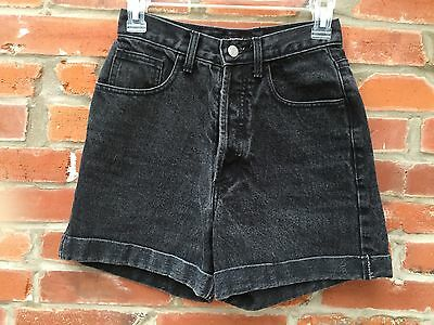 Vintage 90s Guess Jean Shorts Womens Washed Black Denim High Waist Cuffed 845