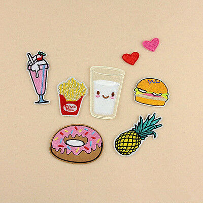 8Pcs Patch Badge Donuts Fruit Embroidery Sew Iron On Bag Clothes Fabric Applique