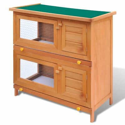 Outdoor Rabbit Hutch Small Animal House Pet Cage Carrier Coop 4 Doors Wood
