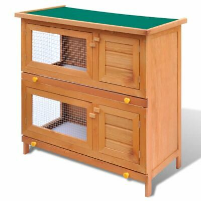 #bNew Outdoor Rabbit Hutch Small Animal House Pet Cage Carrier Coop 4 Doors Wood