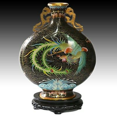 Chinese Cloisonne Enamel Moon Flask Large Vase Phoenix & Dragon Gold Handles