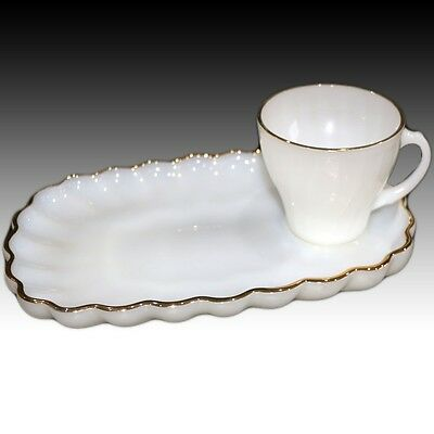 Vintage Anchor Hocking Fire King Milk Glass Classic Rachel Snack Tray Cup Set