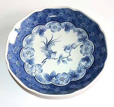 Japanese Footed Porcelain Plate Shallow Dish Blue & White Birds Scallop Edge