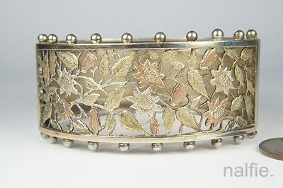 FINE QUALITY ANTIQUE ENGLISH VICTORIAN PERIOD SILVER & GOLD FLORAL BANGLE c1880
