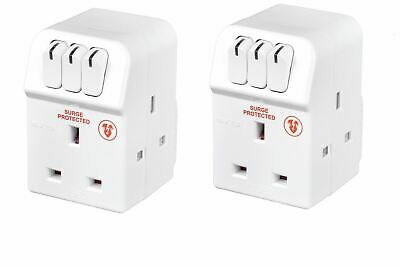 2 Pack of Masterplug MSWRG3-MP 13A 3-Socket Indoor Power Surge Protected Adapter
