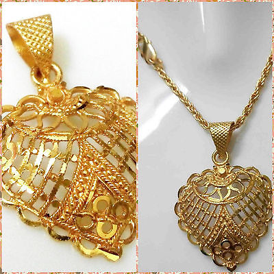 22K 24k Yellow Indian Gold Plated Rope Chain 2mm Pendant Women Necklace Jewelry