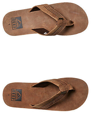 New Reef Men's Sur Leather Thong Rubber Mens Shoes Brown