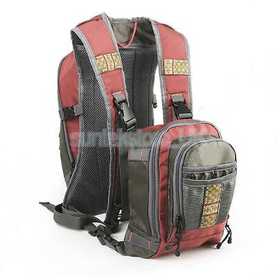 Outdoor Fishing Lure Rod Tackle Bag Waist Chest Pack Camping Hiking Backpack