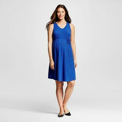 Liz Lange Maternity Casual Tank Dress, Blue/Navy Stripe, Medium