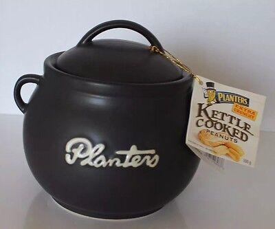 New Planters Black Vintage Looking Ceramic Kettles Cooked Peanuts Collectible