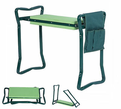 Large Foldable Garden Kneeler and Seat - With Tool Pouch  Portable Garden Stool