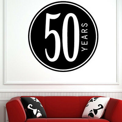 50th Birthday Badge Wall Sticker Novelty Party Wall Decal Celebration Home Decor