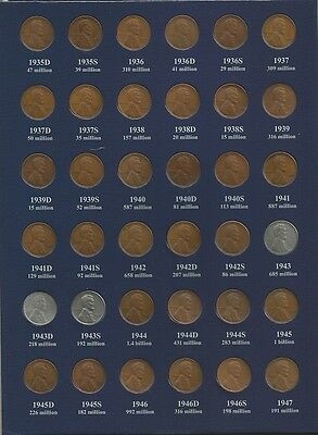Almost Complete 1909-1958 P-D-S Lincoln Wheat Cent Collection - Dates Listed