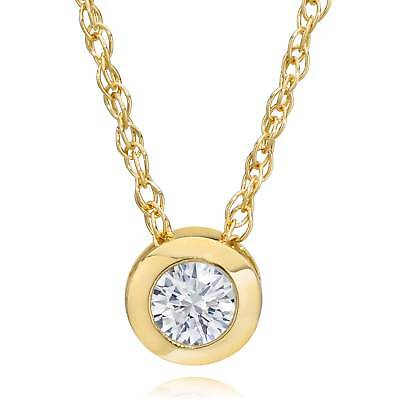 "14K Yellow Gold 1/4 ct Round Diamond Solitaire Bezel Pendant & 18"" Chain"