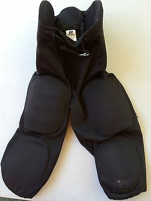 Russell Athletic Football Black Uniform Pants with 7 Integrated Pads, Youth XL