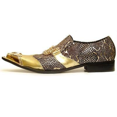 Men's Fiesso Gold Embossed Snake Leather Pointed Toe Shoes Metal Tip FI 6946-2