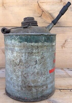 Vintage Metal Galvanized 1 Gallon Gas Oil Kerosene Can With Wooden Handle
