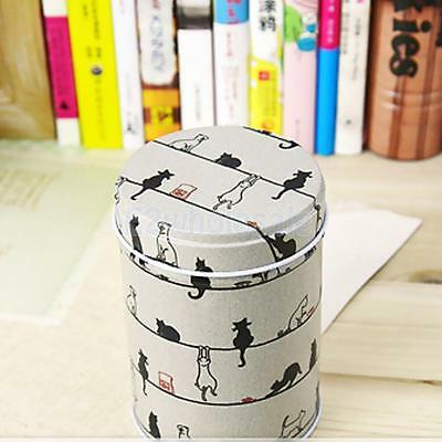 Cylinder Tin Canister Box Double Cover Food Storage Container Kitchen Cats