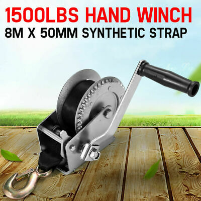 1500LBS Recovery Hand Winch 2-gear Synthetic Strap Boat Trailer 4WD 4X4 1500LB