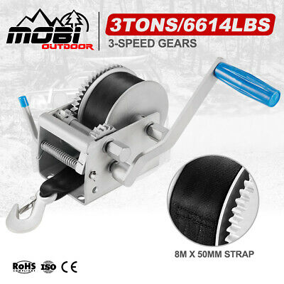 3000KG/6614LBS Hand Winch 3 Speed 4WD Car Trailer Boat Webbing Strap 8M X 50MM
