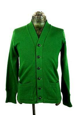 vintage 40s 50s mens green CAMPUS cardigan sweater knit wool retro varsity SMALL
