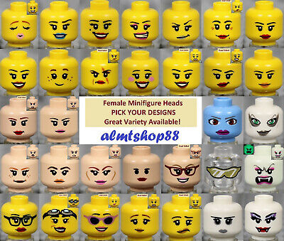 LEGO - FEMALE Minifigure Heads - PICK YOUR STYLE Yellow Flesh Print Faces People