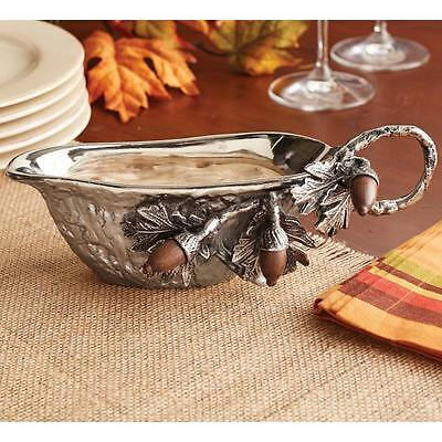 Mud Pie Acorn Oak Leaf Metal Gravy Boat 4831003 Autumn Thanksgiving Sauce