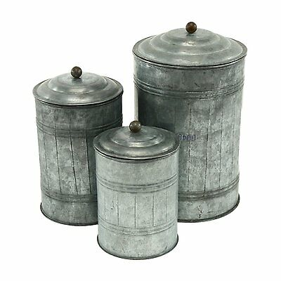 Aspire Home Accents 3128 Galvanized Metal Canisters (Set of 3)