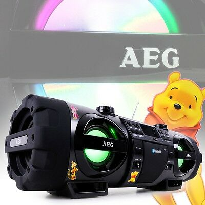 Ghettoblaster Stereo Anlage Bluetooth USB CD MP3 Radio Winnie Pooh Aufkleber