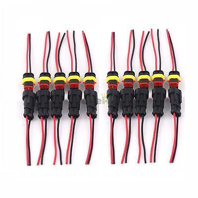 10 Kit Kit 2 Pin Waterproof Electrical Connector Plug with Wire AWG HID Vehicle
