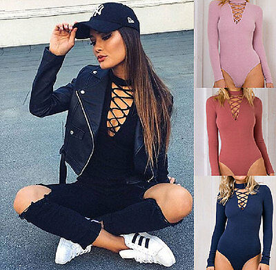 New Sexy Women's Ladies Long Sleeve Stretch Bodysuit Blouse Body Top T-shirt