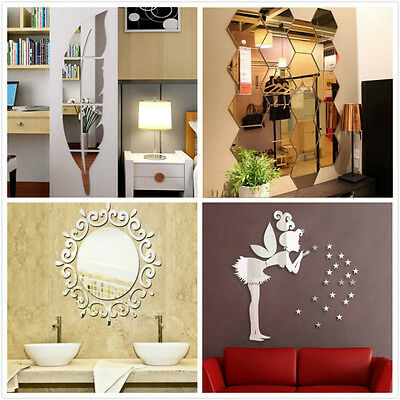 3D Mirror Feather Wall Vinyl Decals Stickers DIY Art Decor Home Mural Removable