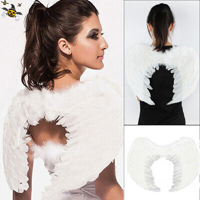 White Costume Feather Wings Fairy Angel cosplay props Halloween Fancy Dress halo