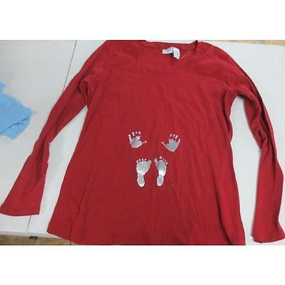 Maternity Long Sleeve Baby Hand/Feet Graphic Tee, Red, Xlarge Introspect
