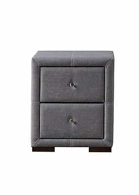 Birlea Sorrento 2 Drawer Nightstand Bedside Cabinet, Grey Fabric