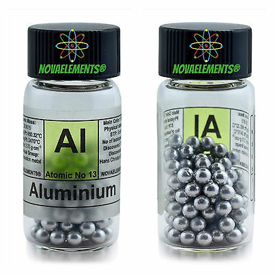 Aluminium metal element 13 Al shiny pellets 5 grams 99,99% in labeled glass vial