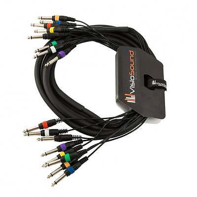 """8-Way 3m 6.35mm 1/4"""" Mono Jack to Jack Unbalanced Loom / Patch Multicore Cable"""