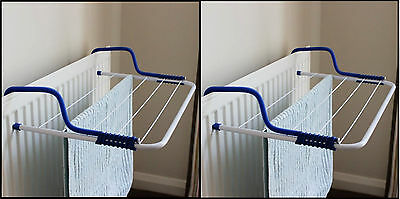 2 x 3M Radiator Airer Towel Clothes Dryer Drying Rack 5 Rail Bar Holder White