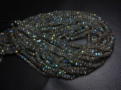 "100% Natural Labradorite Micro Faceted Rondelle Beads 3.5 mm 13"" Christmas Gift."