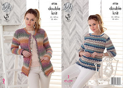 King Cole 4726 Knitting Pattern Womens Sweater and Jacket in King Cole DK