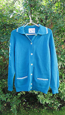 Vintage 60s World Champion Hec Gervais Turquoise Blue Wool Curling Sweater M