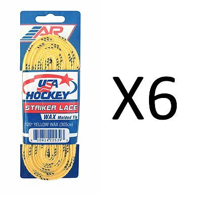 A&R Sports USA Hockey Laces - Waxed Striker Laces - Yellow 120 Inches (6-Pack)