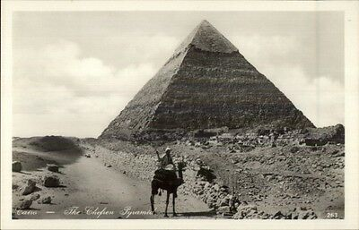 Egypt Chefren Pyramid & Man on Camel c1920s-30s Real Photo Postcard