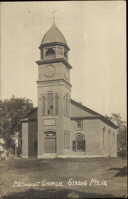 Strong ME Methodist Church c1910 Real Photo Postcard