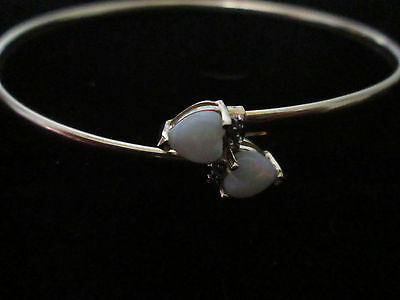Vintage 10K Yellow Gold And Opal Hearts Bracelet