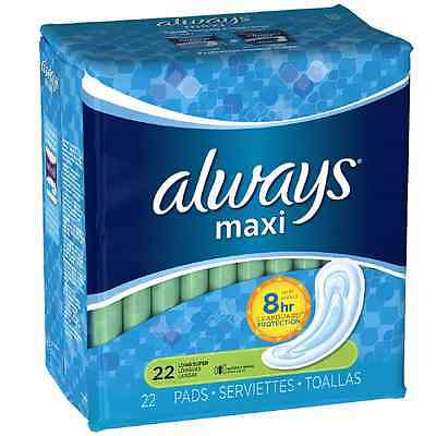 Always Maxi Pads Long Super without Wings 22 ea (Pack of 3)