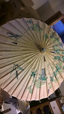 Vintage Floral Asian Oriental Parasol. Has holes Sold as a prop or for Crafting