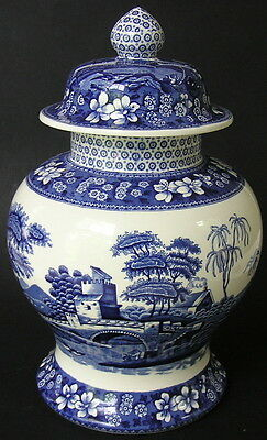 "Spode BLUE TOWER 11"" Mantle Ginger Covered Jar English Staffordshire Blue& White"