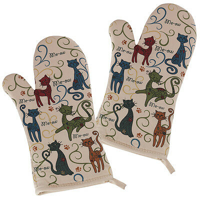 One Pair of Festival Cat Lovers' Oven Mitts / Pot Holders / 100% Cotton
